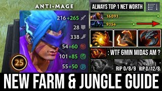WTF 6Min Midas [Anti-Mage] NEW Farming Guide in 7.22g & Deleted Everyone with 20 Kills Zero Death