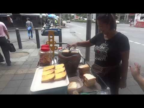 Bangkok street food Charcoal toast ขนมปังปิ้งเตาถ่าน