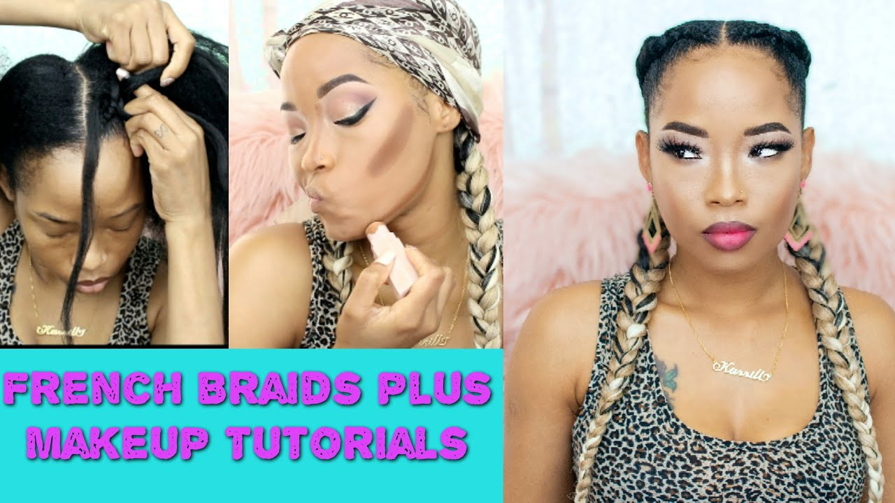 2 french braids Tutorial   Feed In Braid On Natural Hair   Makeup Tutorial How To Cornrow - YouTube