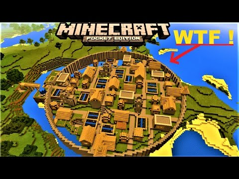 MCPE 1.8 -  INSANE VILLAGER CITY WITH CITY WALL | 4 BLACKSMITHS  | MINECRAFT PE MAP
