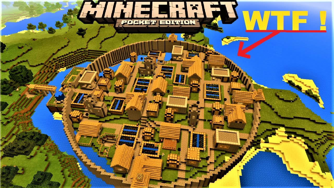 MCPE 1 8 - INSANE VILLAGER CITY WITH CITY WALL | 4 BLACKSMITHS | MINECRAFT  PE MAP