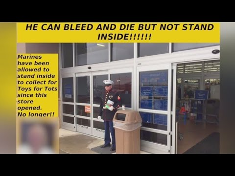 Internet rails against Medina Walmart after Marine asked to stand outside