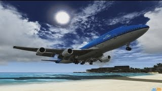 FSX Acceleration [HD] St Maarten / DX10 / Boeing 747-400 KLM Royal Dutch Airlines Landing