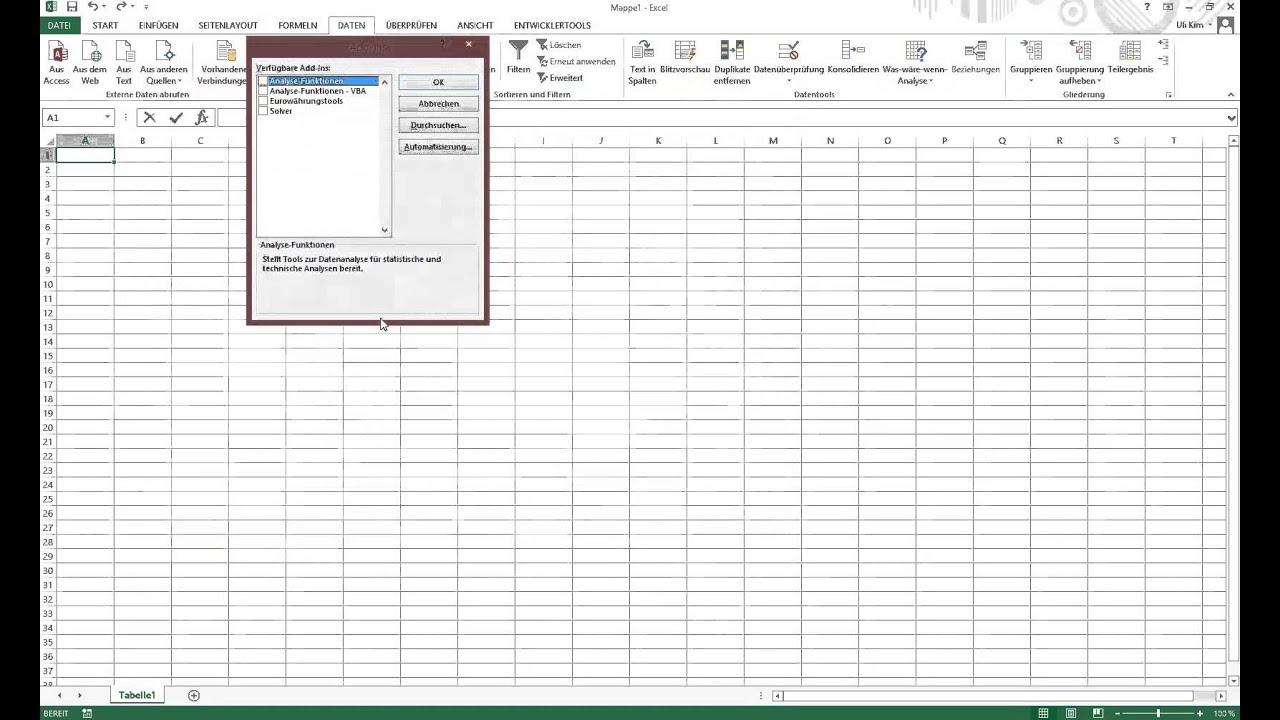 Excel 2013 Datenanalyse aktivieren - YouTube