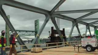 Memorial Bridge floats under the Sarah Long Bridge