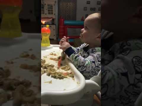 Owen eating chicken pot pie