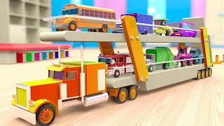 Learning Colors with Toy Street Vehicles with Car Transport Truck for Kids, 3D Vehicles
