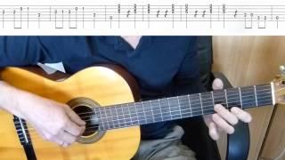 Голубой вагон - мелодия на гитаре + табы