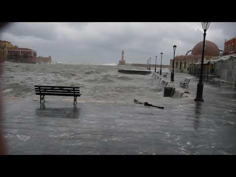 Κακοκαιρία στα Χανιά - Ενετικό Λιμάνι (29/03)