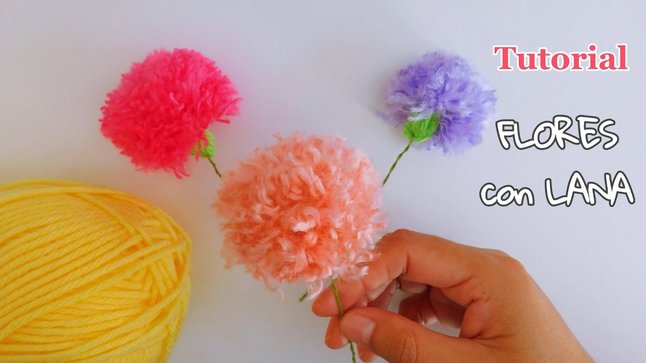 Como hacer Flores de lana con peine. Fácil explicado paso a paso. Easy Flower Embroidery