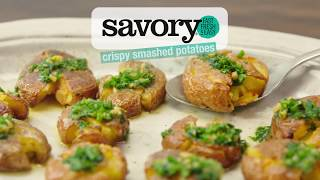 Crispy Smashed Potatoes with Garlic-Herb Butter - Savory