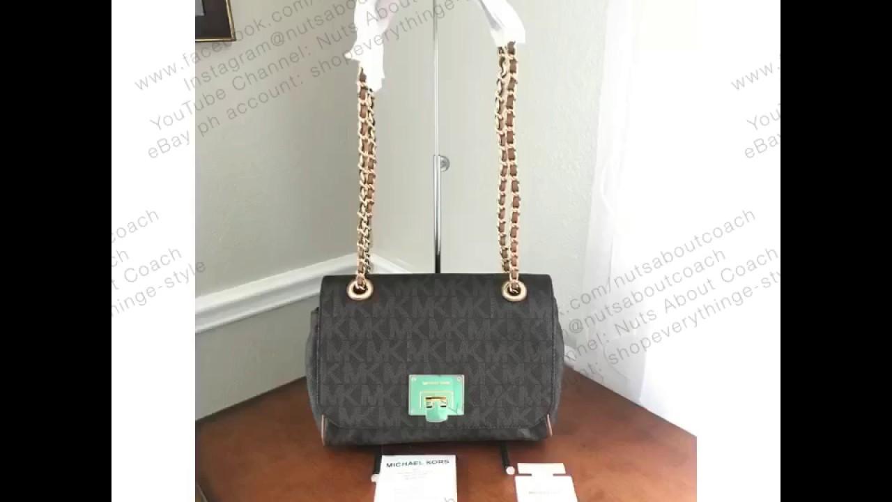 24c8e5dffff8 MICHAEL KORS VIVIANNE MEDIUM FLAP SHOULDER CROSSBODY BAG IN PVC SIGNATURE  BROWN