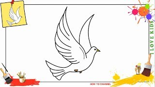 How to draw a dove EASY & SLOWLY step by step for kids and beginners