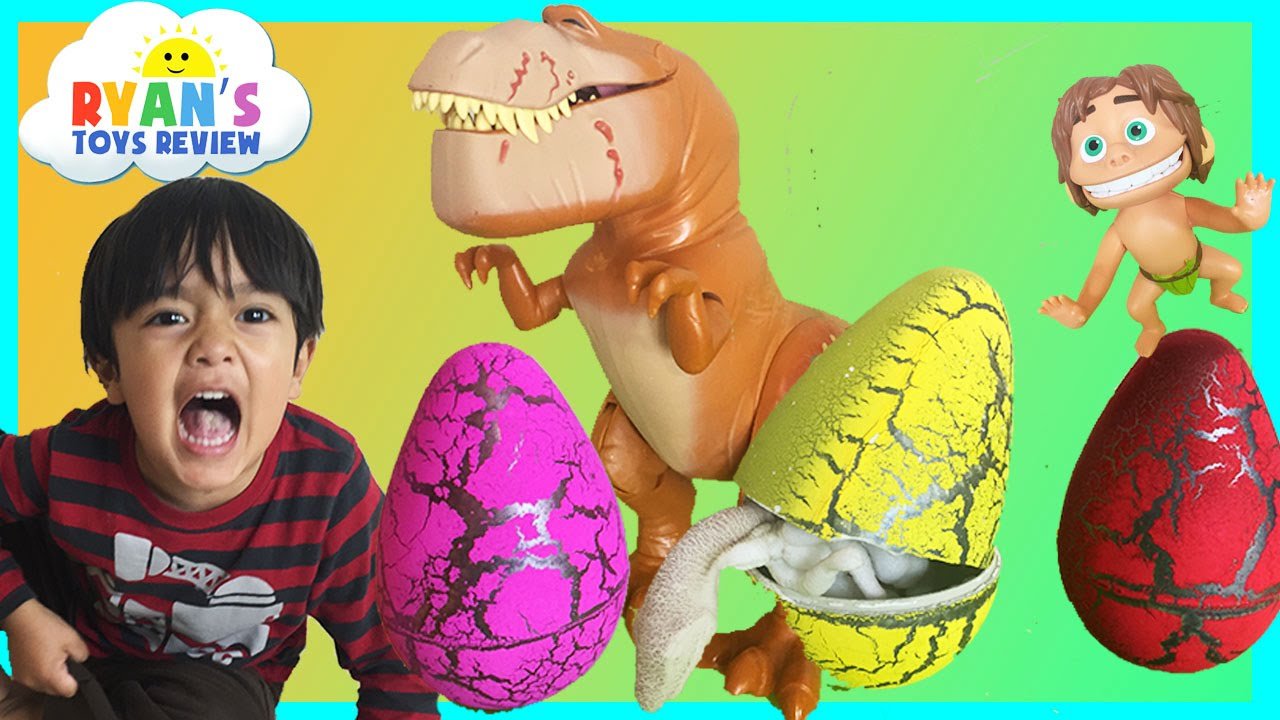 ryan open surprise dinosaur eggs hatching  youtube