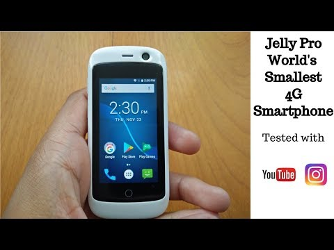 Jelly Pro World's Smallest Smartphone Unboxing and Review with Instagram, YouTube and Games