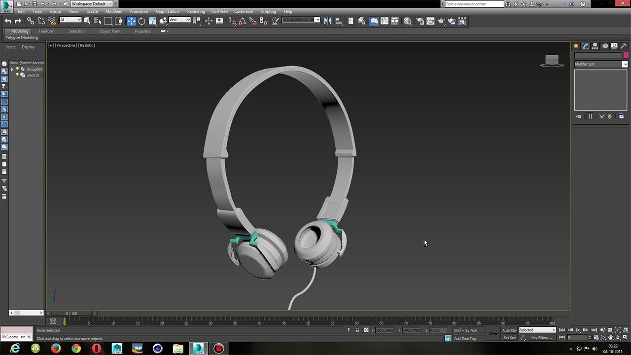 3ds max easy headphone modeling youtube for Modelar habitacion 3d max