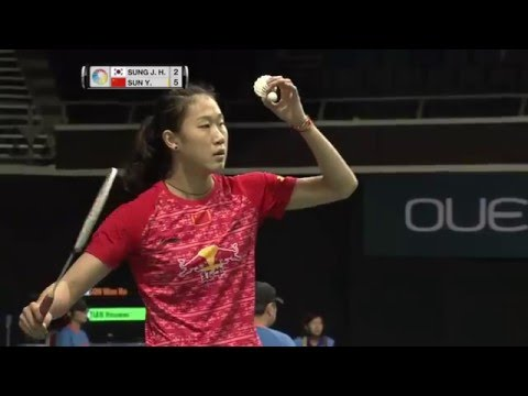 OUE Singapore Open 2016   Badminton QF M1-WS   Sung Ji Hyun vs Sun Yu