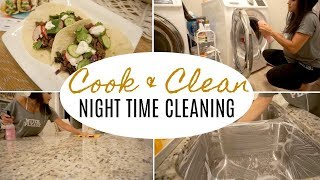 COOK AND CLEAN WITH ME | EASY MEAL | RELAXING NIGHT CLEANING