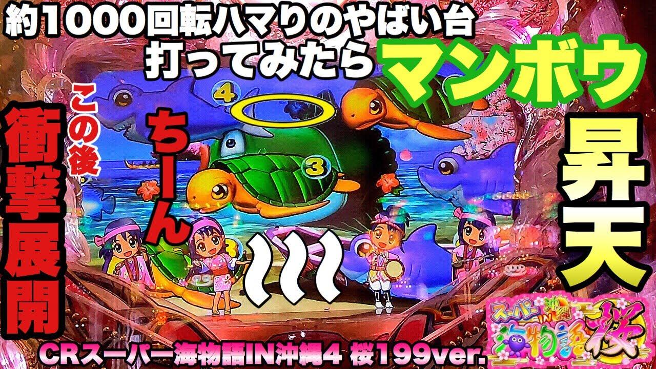 約1000回転ハマっているやばい台打ってみたらマンボウが昇天してしまいました。【CRスーパー海物語IN沖縄4 桜199ver.】