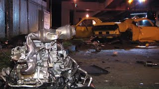 Horrific Fatal Car Crash - Motor And Transmission Pieces Everywhere - Video Of Actual Crash At End