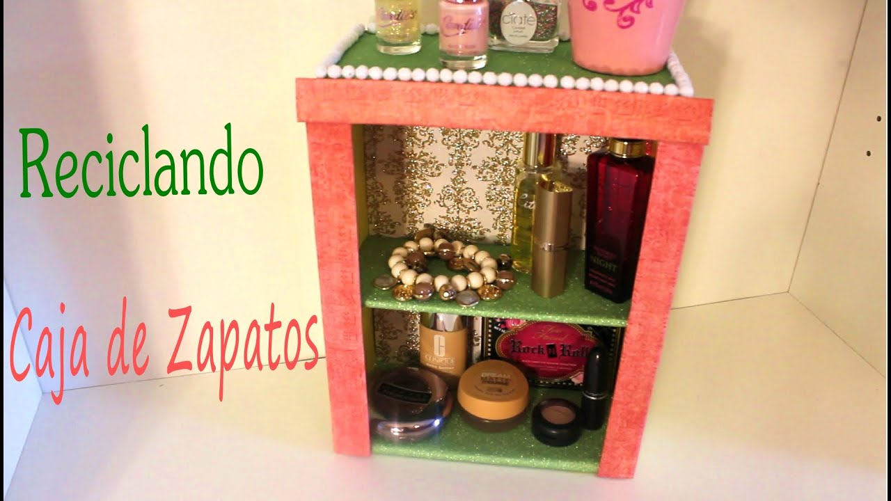 Organizador con caja de zapatos reciclaje youtube - Como decorar un joyero de madera ...