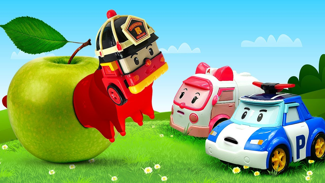 Видео про машинки и гонки. Игры в игрушки из мультиков Робокар Поли! Игрушки Робокары соревнуются