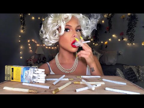 ASMR EATING EDIBLE CANDY CIGARETTES WITH MARILYN MONROE *MOST ODDLY SATISFYING* MUKBANG 먹방