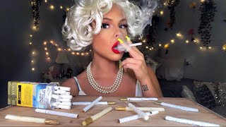 ASMR EDIBLE CANDY CIGARETTE EATING WITH MARILYN MONROE (MOST ODDLY SATISFYING EATING SOUNDS)