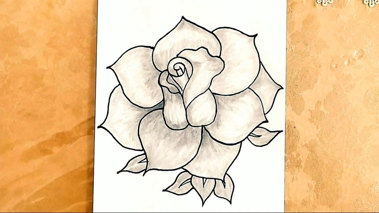 Qizilgul Sekli Cekmek Gul Cizimleri Sekil Cekmek Mektebeqeder Hazirliq Səkil Cəkmək Rose Drawings Youtube