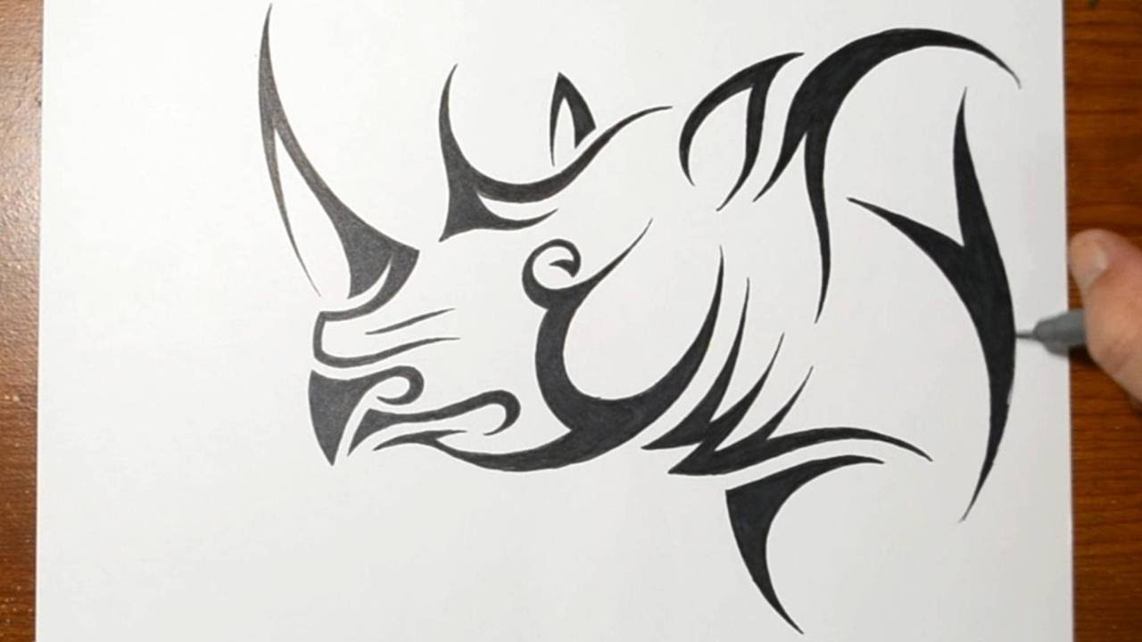 how to draw a rhino tribal tattoo design style youtube. Black Bedroom Furniture Sets. Home Design Ideas