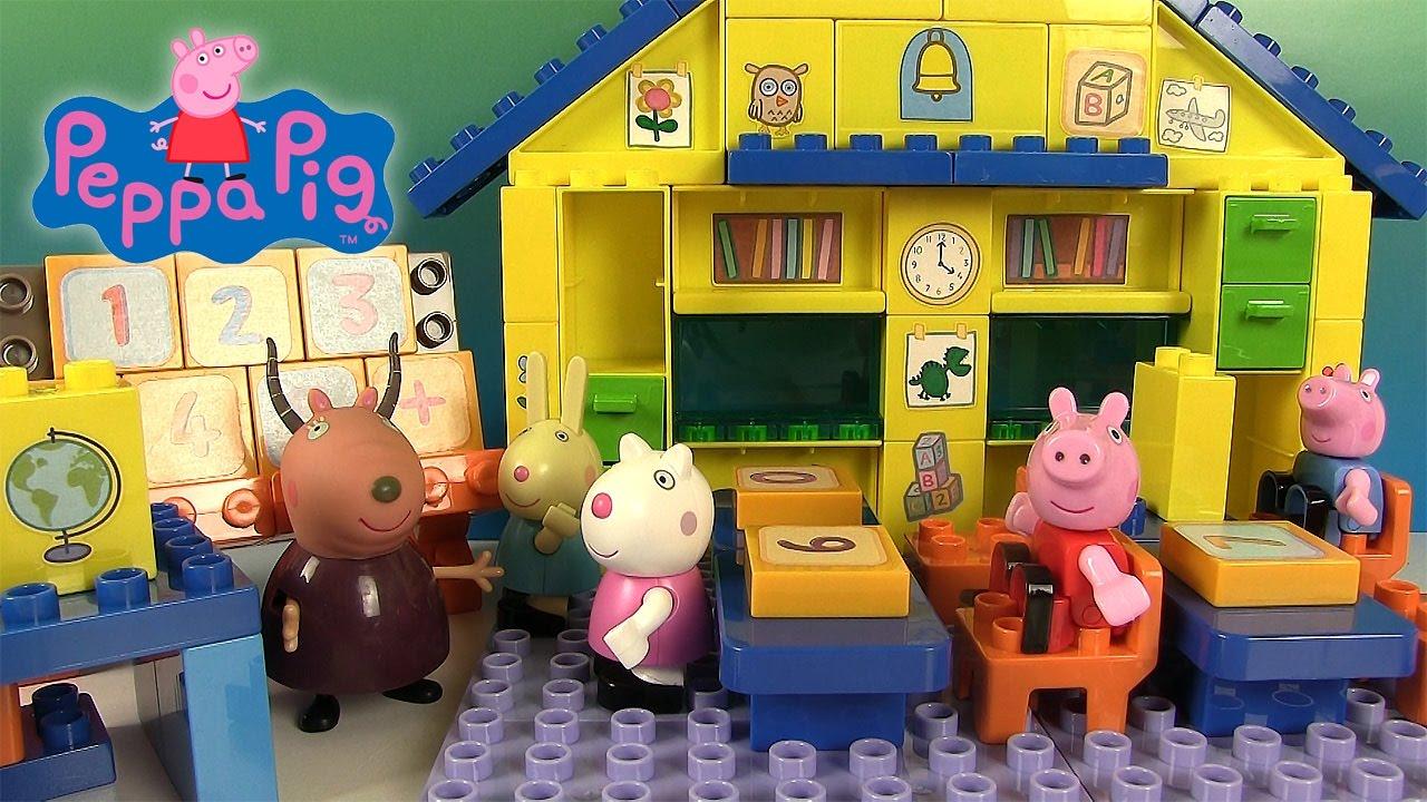 peppa pig salle de classe ecole jeu de construction jouets pour enfants youtube. Black Bedroom Furniture Sets. Home Design Ideas