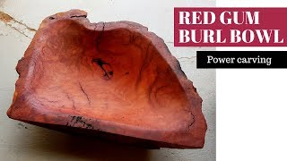Red gum burl bowl - Power carved with the Arbortech TURBOplane blade