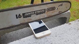 IPHONE COM TELA PROTETORA VS SERRA ELÉTRICA!!