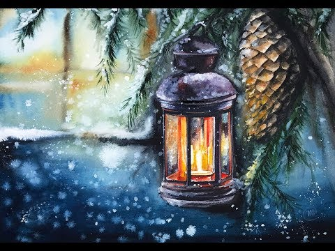 Lantern in Watercolors Painting Tutorial