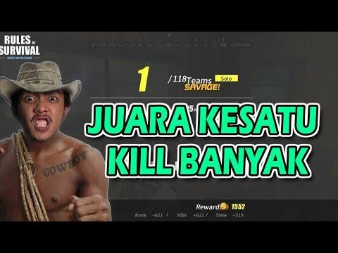 Rules of Survival Solo Rank Kesatu Kill Banyak Mantap ! - 동영상