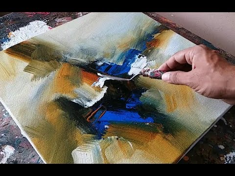 Abstract painting / Demonstration / Easy blending and palette knife techniques in acrylics