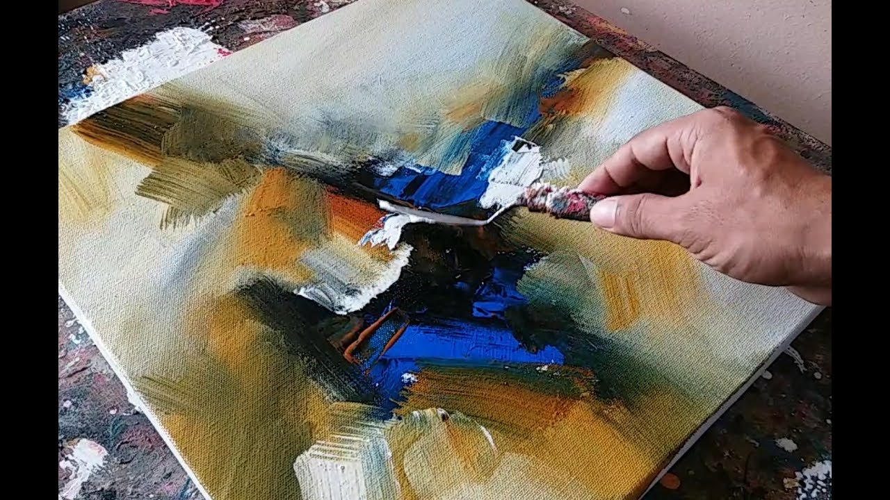 Abstract painting demonstration easy blending and for Palette knife painting acrylic