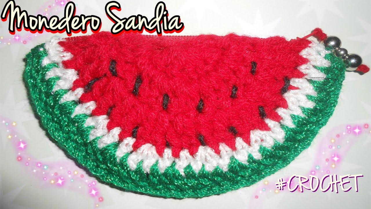 Monedero Sandia Crochet Facil Youtube - Monedero-crochet-patron