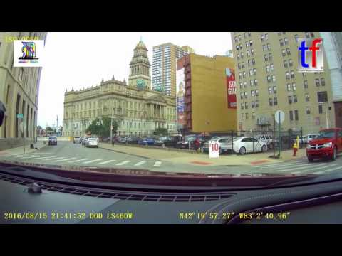 Amazing Detroit - Come 'n Visit: Dashcam Driving Into Downtown, USA, 08/15/2016.