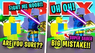 NOOB DISGUISE TROLLING!! NOOB VS THANOS USING BEST SWORD IN ROBLOX SABER SIMULATOR!!