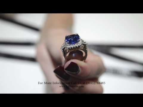 Natural Cushion Cut Sapphire Ring