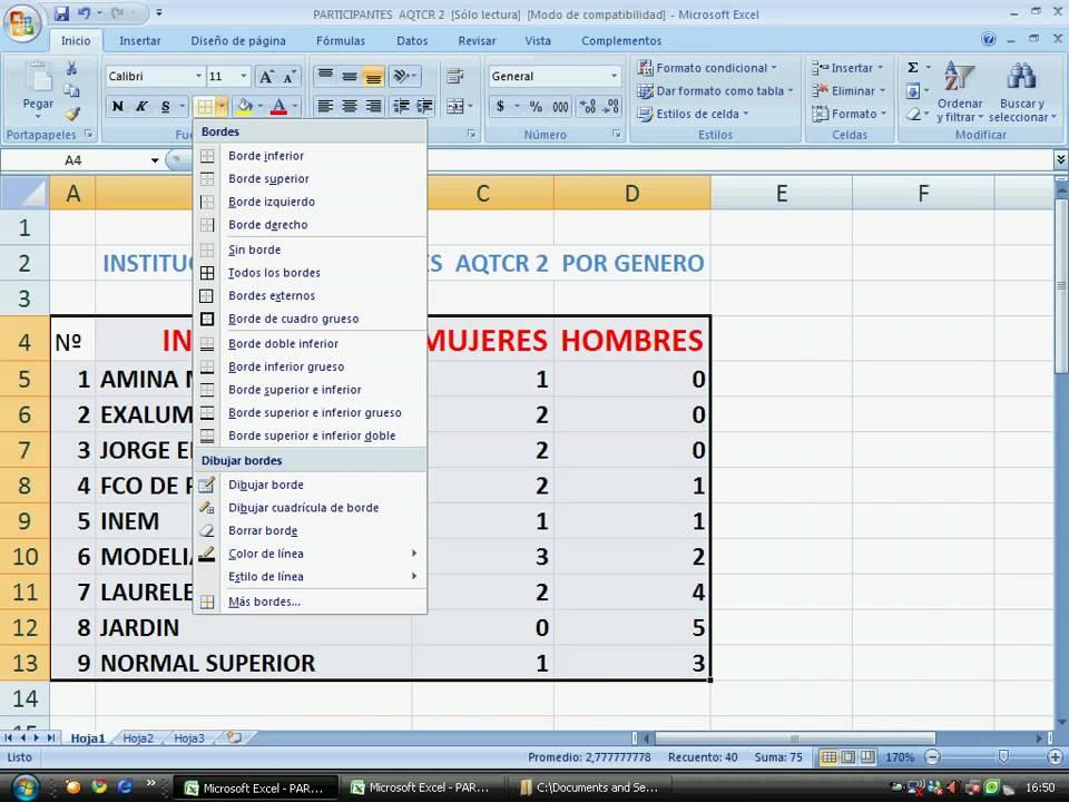 Cómo colocar bordes a las celdas en una tabla de Excel. AQTCR N2 ...