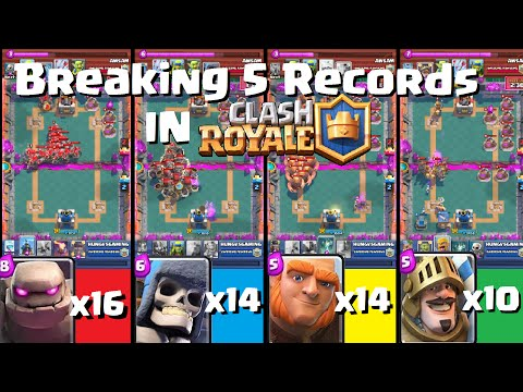 BREAKING 5 RECORDS IN CLASH ROYALE!!!(16xGolems, 14xGiant Skeletons, 14x Giants & 10x Princes)