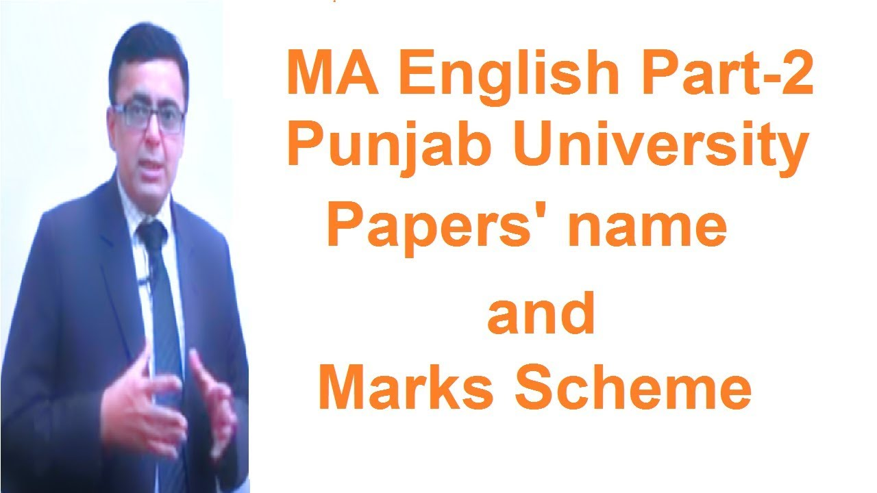 MA English Part-2 Punjab University papers Name and Marks Scheme