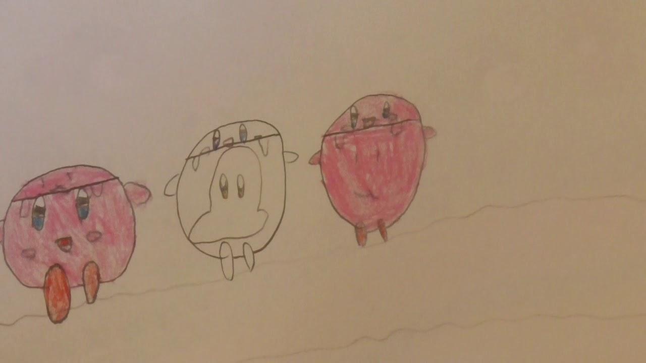 星のカービィとワドルディとポポポを描いてみた。