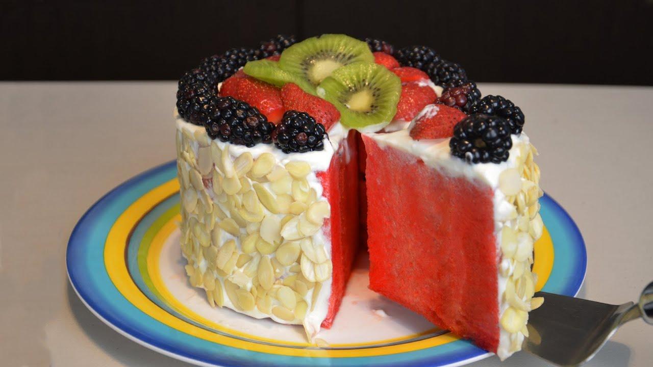 Pastel de frutas f cil sin horno sand a recetas de - Postres con frutas faciles ...