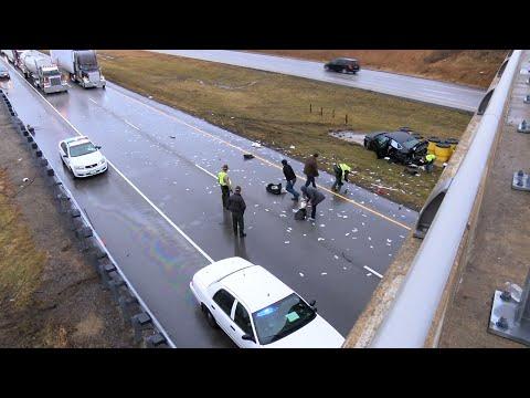 Crash Scatters Cash Across Illinois Interstate