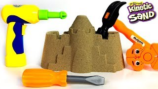 COLORFUL KINETIC SANDCASTLE SURPRISES AND FUN WITH POWER TOOLS