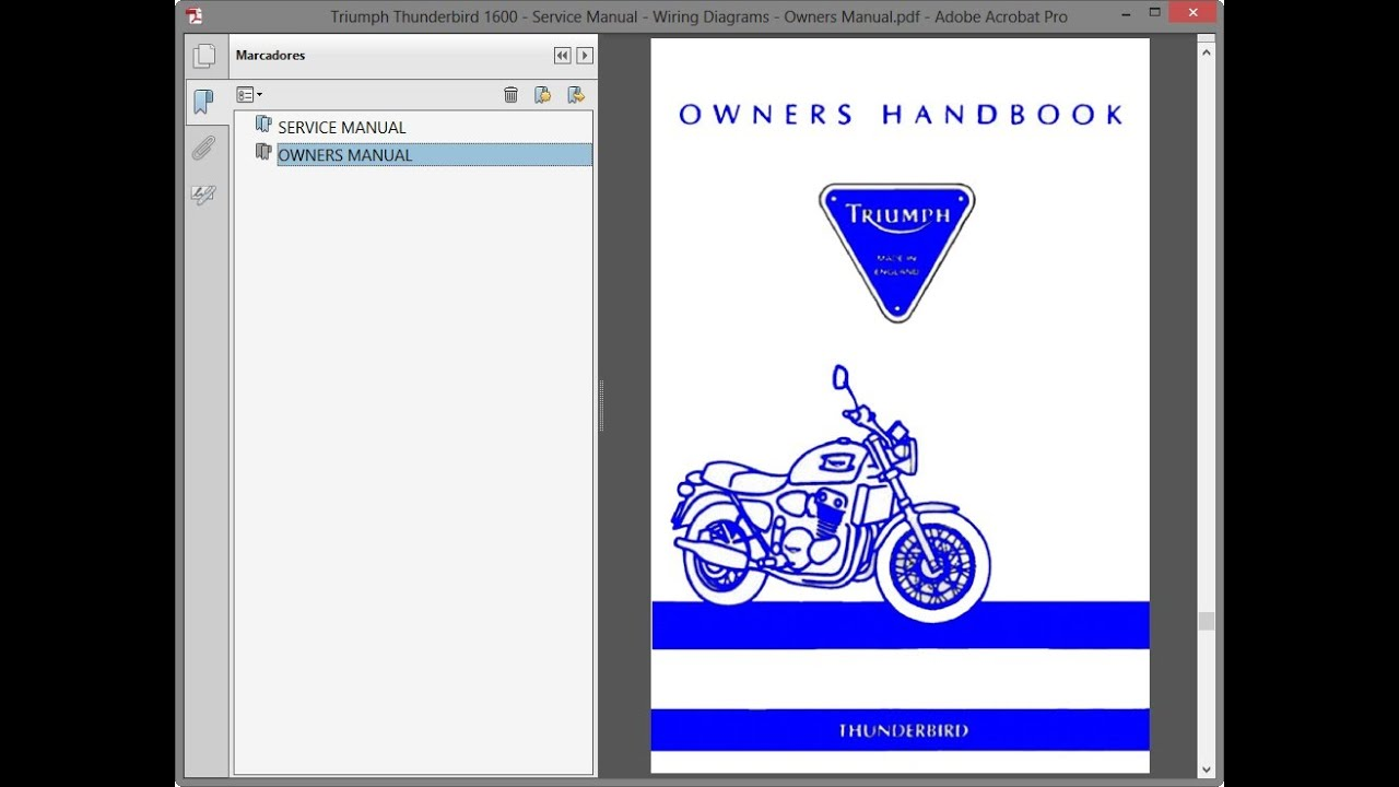 triumph thunderbird 1600 - service manual - wiring diagrams - owners manual  - youtube  youtube