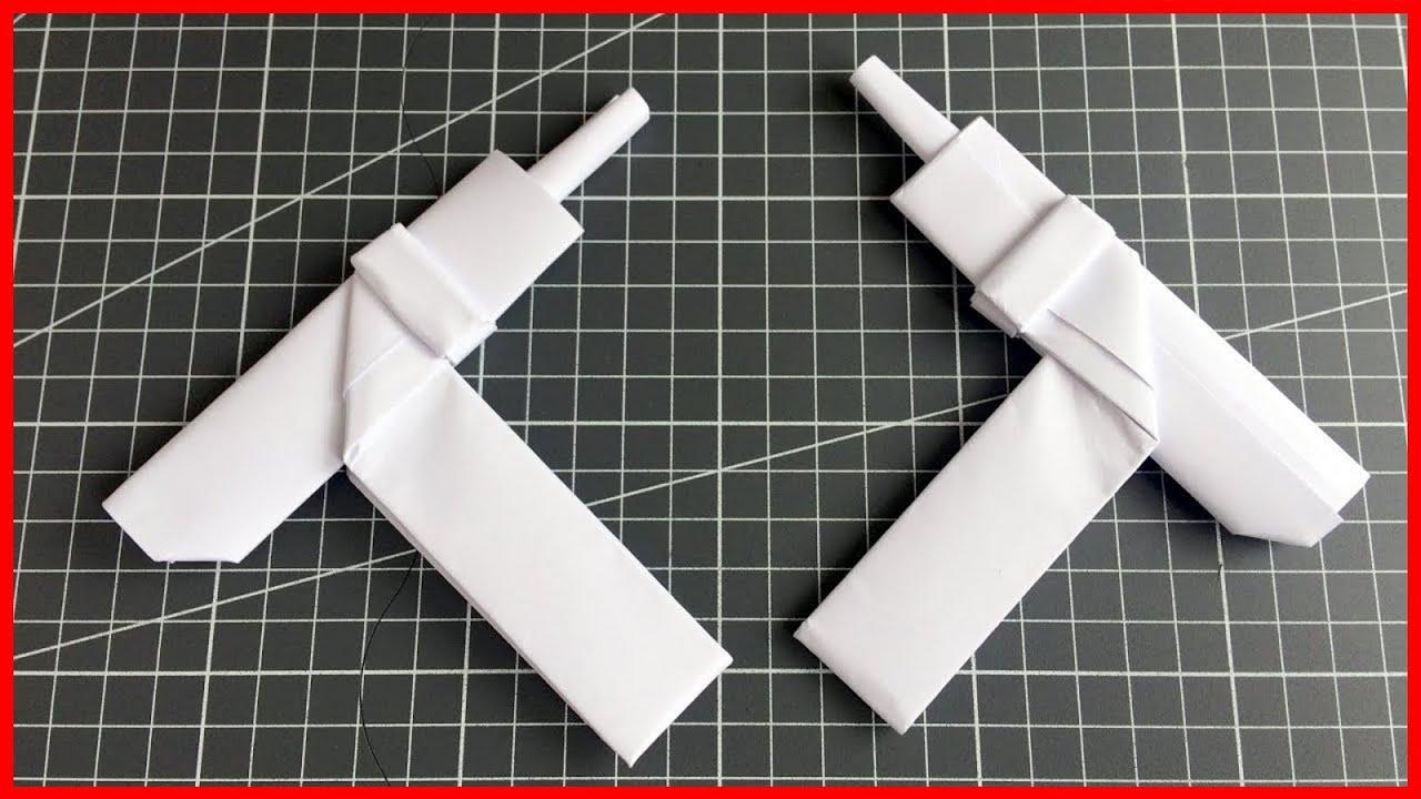 Пистолет Пулемет УЗИ оригами из бумаги как сделать